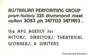 From the front cover of the brochure.